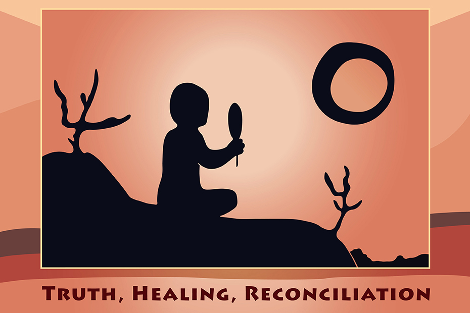 Illustration of a shadow of a person sitting on a hill holding a feather with the sun in the background. Words on the bottom: truth, healing, reconciliation.
