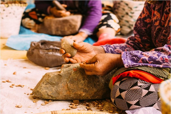 Moroccan women expertly cracking argan nuts