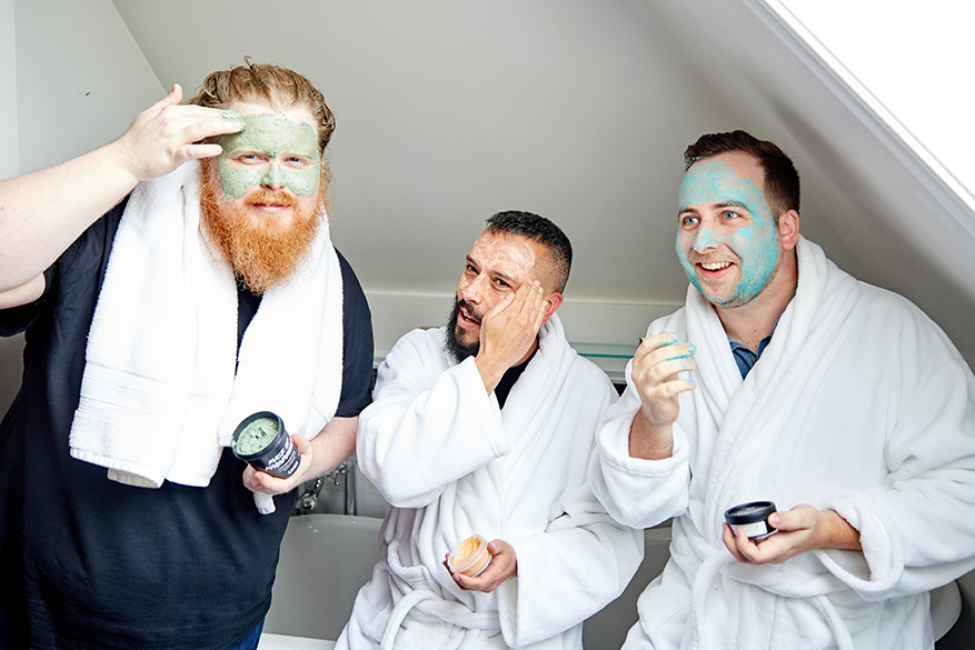 Davey, Matthew and Padraic enjoying some mask time together