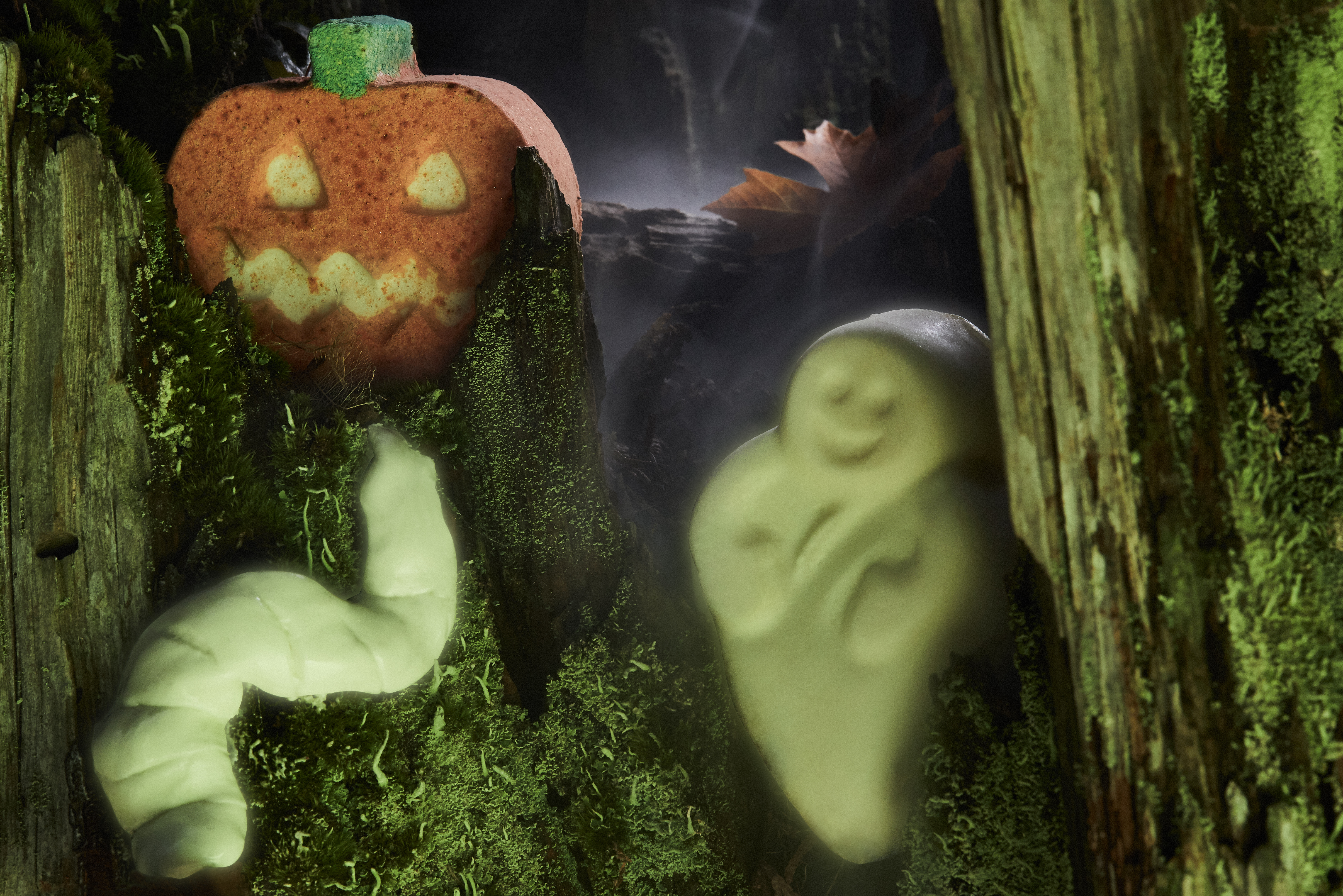 A Punkin Pumpkin Bath Bomb, Ghost In The Dark Soap and Glow Worm Fun nestled in a spooky, mossy tree.